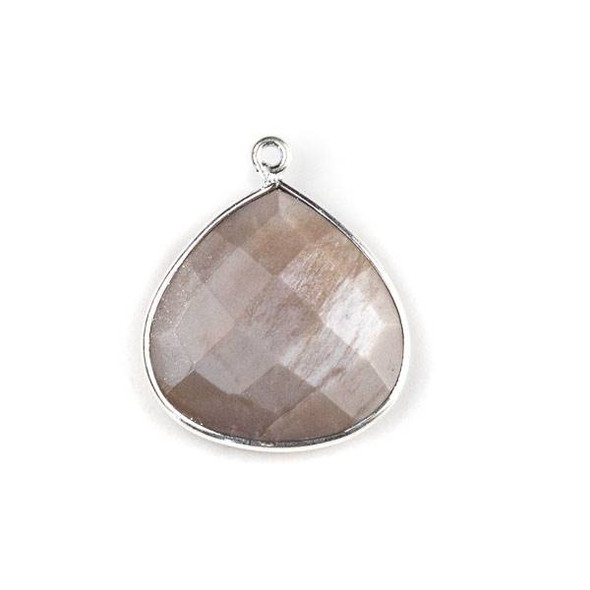 Mystic Swiss Chocolate Moonstone approximately 21x24mm Faceted Almond Drop with a Silver Plated Brass Bezel