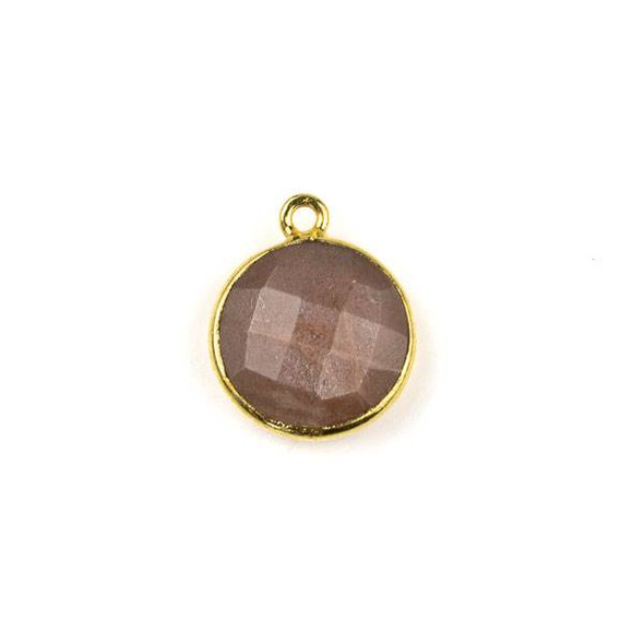 Mystic Chocolate Moonstone 13x16mm Coin Drop with a Gold Plated Brass Bezel - 1 per bag