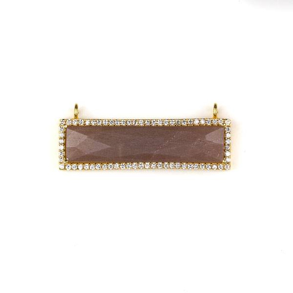 Mystic Swiss Chocolate Moonstone 11x38mm Faceted Rectangle Pendant Drop with Gold Plated Brass Bezel and Cubic Zirconias - 1 per bag