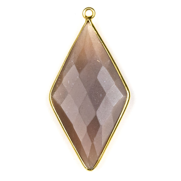Mystic Moonstone approximately 21x44mm Diamond Drop with a Gold Plated Brass Bezel - 1 per bag