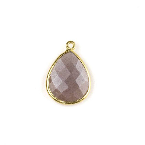Mystic Swiss Chocolate Moonstone approximately 15x21mm Faceted Teardrop Drop with a Gold Plated Brass Bezel