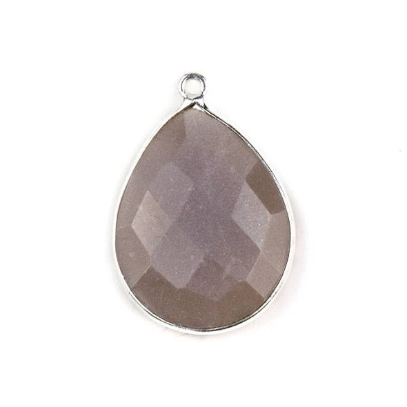 Mystic Chocolate Moonstone approximately 19x27mm Teardrop Drop with a Silver Plated Brass Bezel - 1 per bag