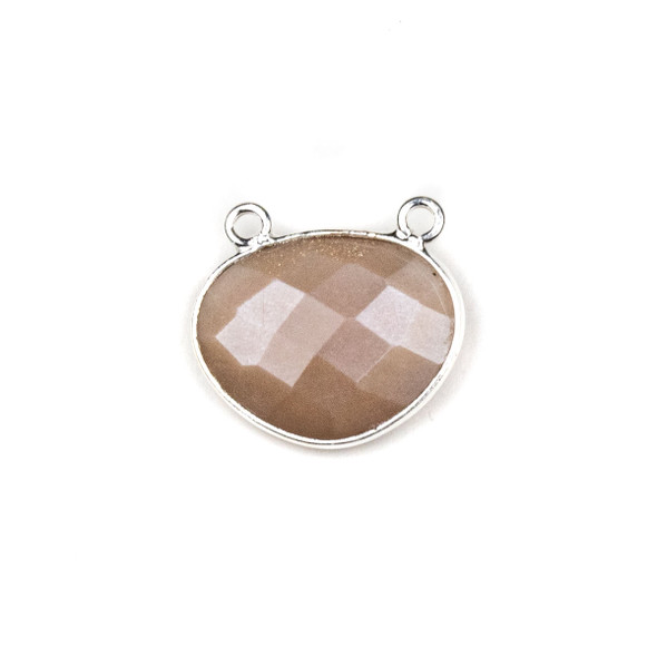 Mystic Moonstone approximately 18x21mm Free Form Oval Drop Pendant with a Silver Plated Brass Bezel - 1 per bag