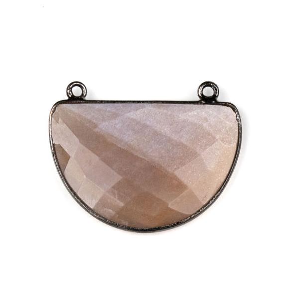 Mystic Moonstone approximately 24x31mm Half Moon Drop Pendant with a Gun Metal Plated Brass Bezel - 1 per bag
