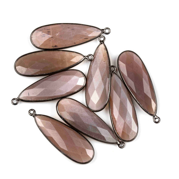 Mystic Swiss Chocolate Moonstone approximately 11x34mm Long Teardrop Drop with a Gun Metal Plated Brass Bezel - 1 per bag