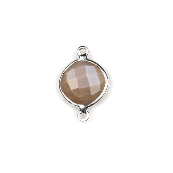 Mystic Moonstone approximately 14x21mm Rounded Diamond Link with a Silver Plated Brass Bezel - 1 per bag