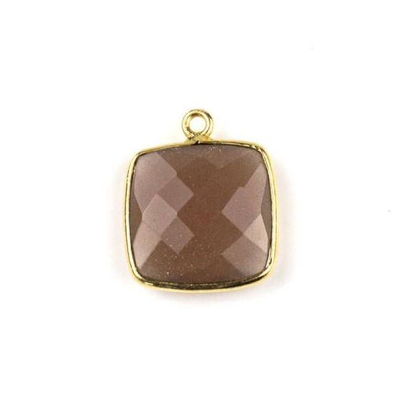 Mystic Chocolate Moonstone 15X18mm Square Drop with a Gold Plated Brass Bezel - 1 per bag