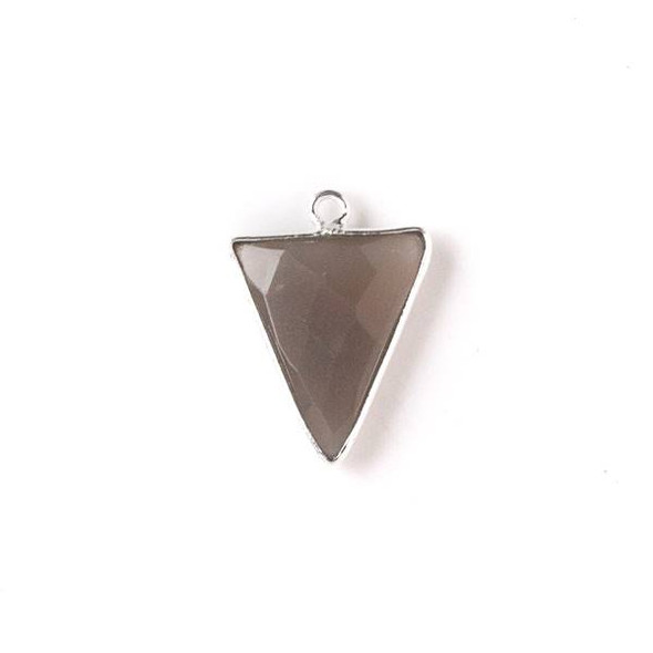 Mystic Swiss Chocolate Moonstone 14x19mm Small Triangle Drop with a Silver Plated Brass Bezel