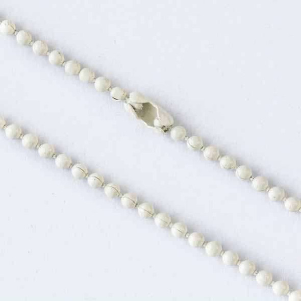 Base Metal White 24 inch 1.5mm Ball Chain Necklace