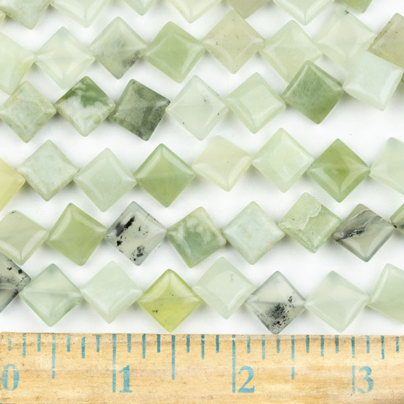 New Jade 10mm Diagonal Drilled Square Beads - approx. 8 inch strand, Set A