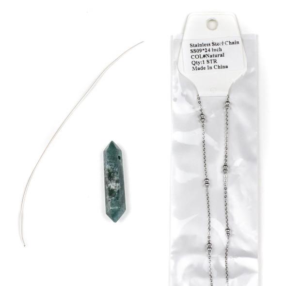 Moss Agate Hexagonal Point Necklace Kit - nkit-09