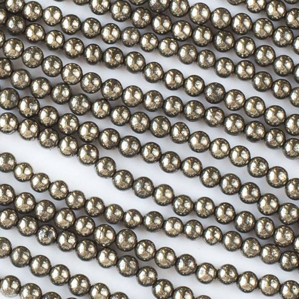 Natural Pyrite 4mm Rounds - 15.5 inch strand