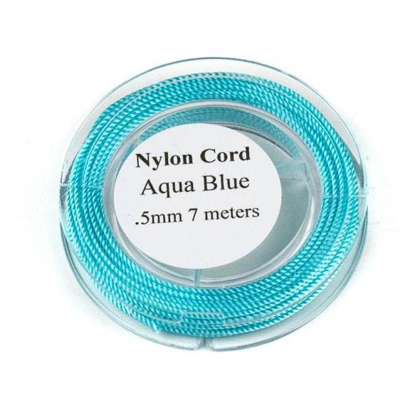 Nylon Cord - Aqua Blue, .5mm, 7 meter spool