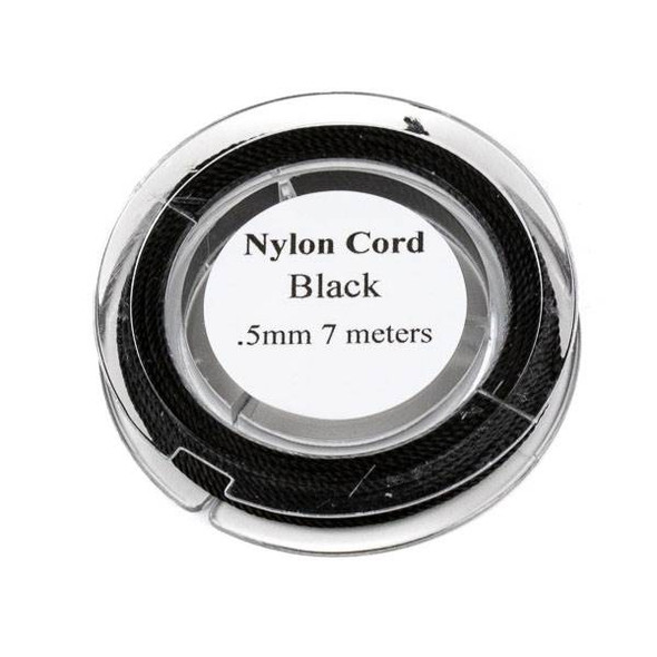 Nylon Cord - Black, .5mm, 7 meter spool
