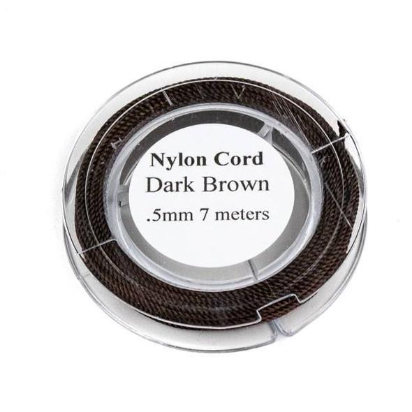 Nylon Cord - Dark Brown, .5mm, 7 meter spool