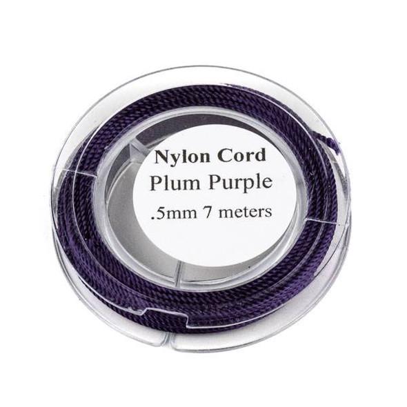 Nylon Cord - Plum Purple, .5mm, 7 meter spool
