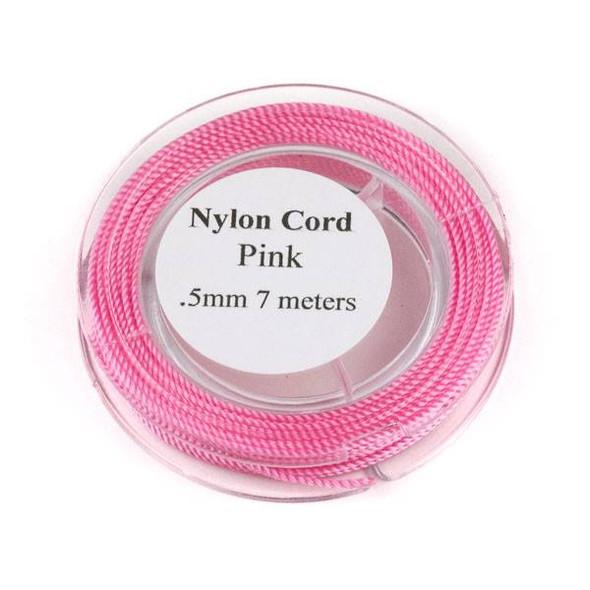 Nylon Cord - Pink, .5mm, 7 meter spool