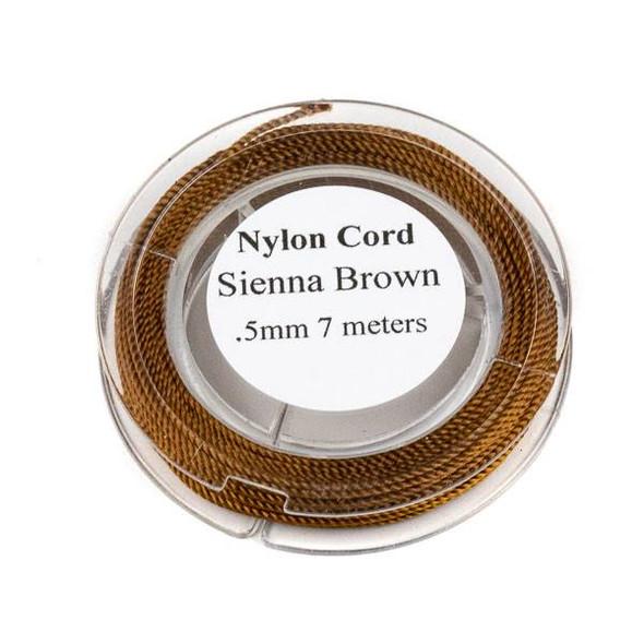 Nylon Cord - Sienna Brown, .5mm, 7 meter spool