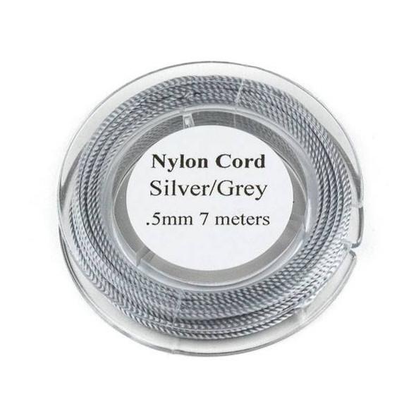 Nylon Cord - Silver Grey, .5mm, 7 meter spool