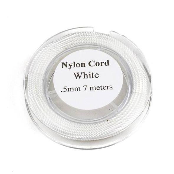 Nylon Cord - White, .5mm, 7 meter spool