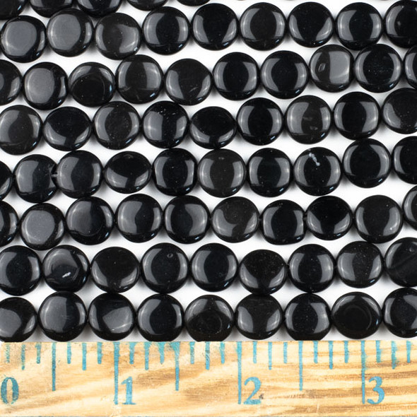 Black Obsidian 10mm Coin Beads - approx. 8 inch strand, Set A