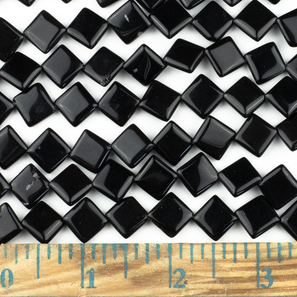 Black Obsidian 10mm Diagonal Drilled Square Beads - approx. 8 inch strand, Set A