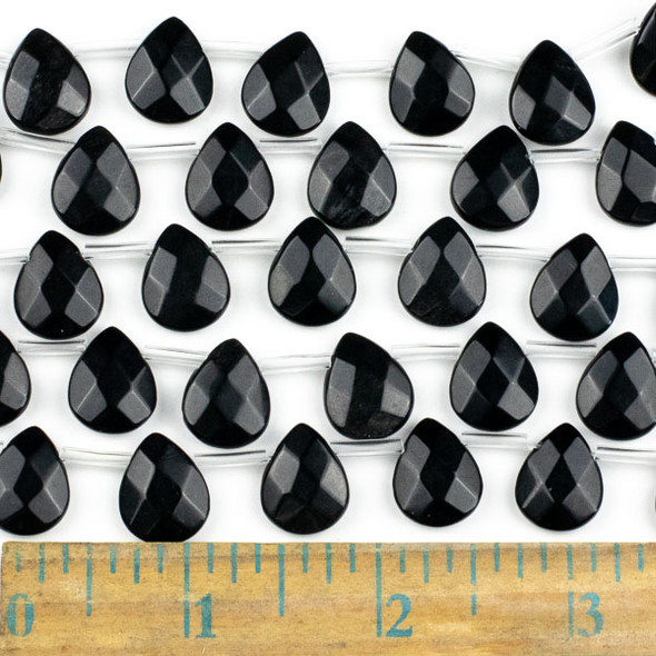 Black Obsidian 12x15mm Faceted Top Drilled Teardrop Beads - approx. 8 inch strand, Set B