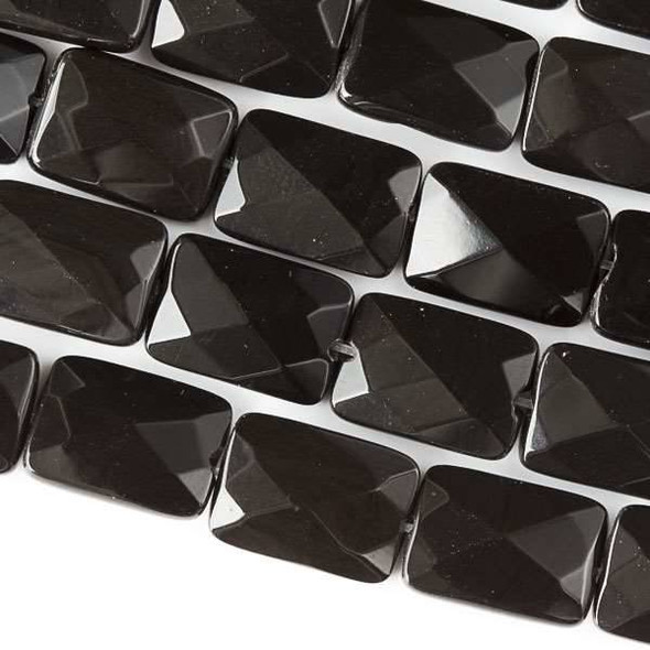 Black Obsidian 10x14mm Faceted Rectangle Beads - approx. 8 inch strand, Set B