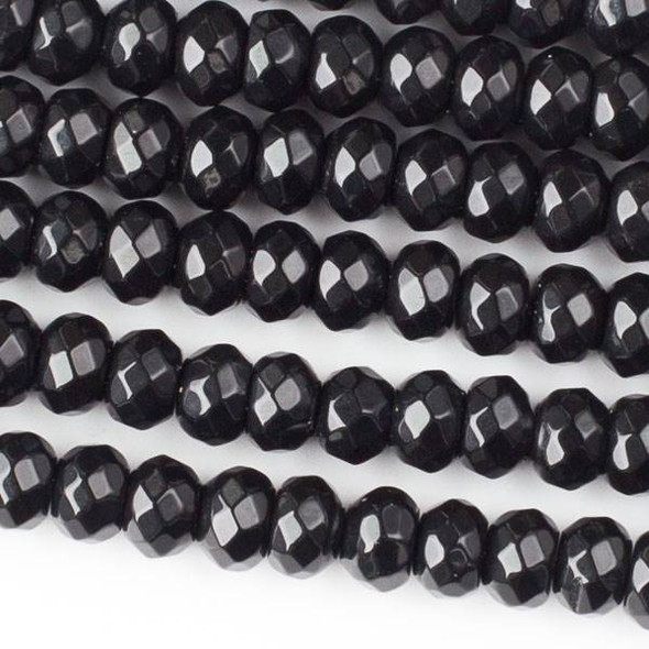 Black Obsidian 5x8mm Faceted Rondelle Beads - approx. 8 inch strand, Set B