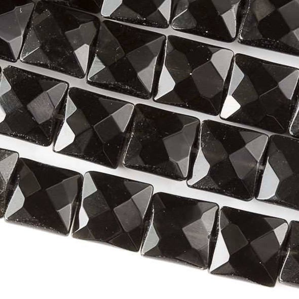 Black Obsidian 10mm Faceted Square Beads - approx. 8 inch strand, Set B