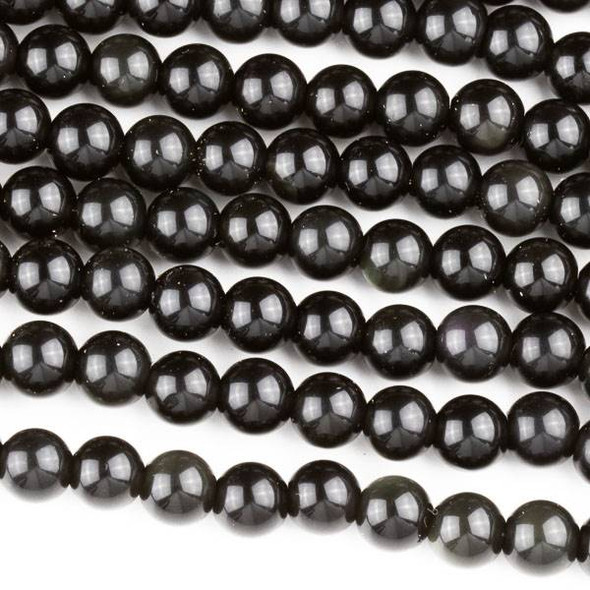 Black Obsidian 6mm Round Beads - approx. 8 inch strand, Set A