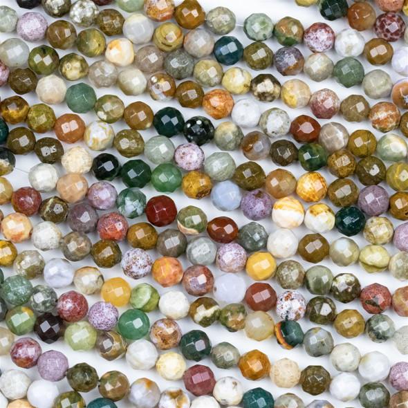 Ocean Jasper 6mm Faceted Round Beads - 15 inch strand