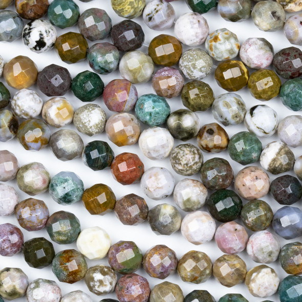 Ocean Jasper 8mm Faceted Round Beads - 8 inch strand