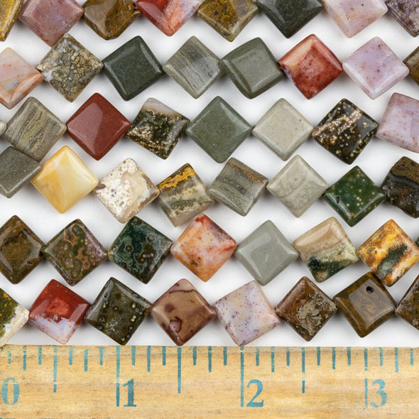 Ocean Jasper 10mm Diagonal Drilled Square Beads - approx. 8 inch strand, Set A