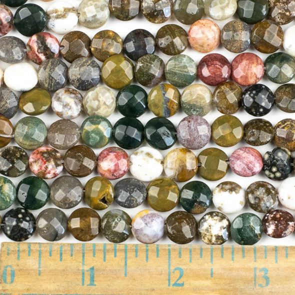 Ocean Jasper 10mm Faceted Coin Beads - approx. 8 inch strand, Set B
