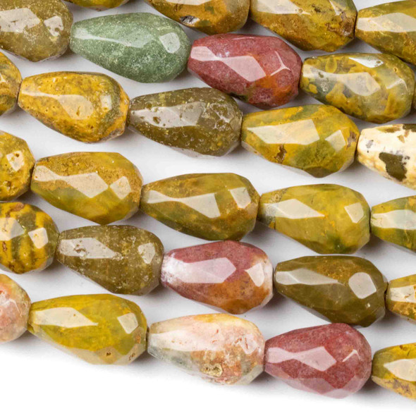 Ocean Jasper 8x12mm Faceted Rounded Teardrop Beads - approx. 8 inch strand, Set B