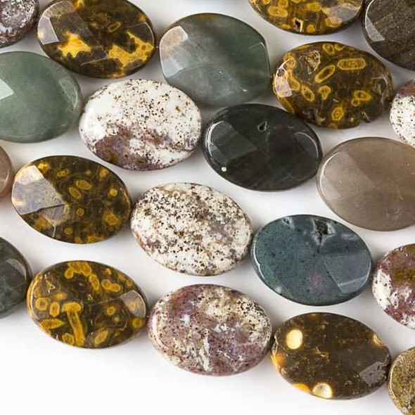 Ocean Jasper 10x14mm Faceted Oval Beads - approx. 8 inch strand, Set B