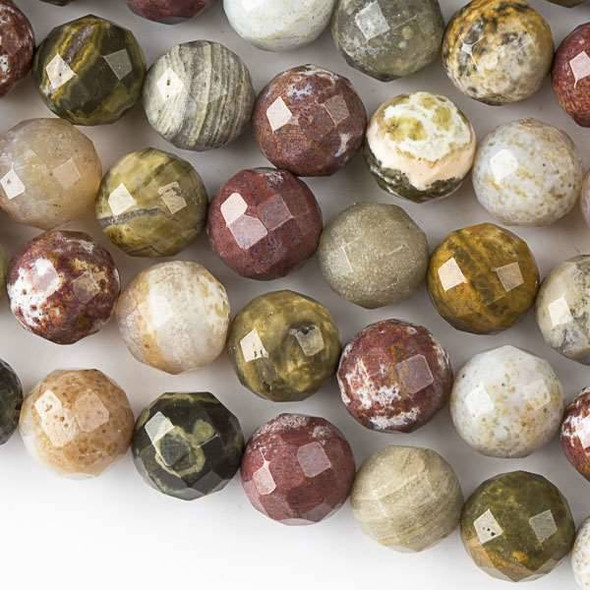 Ocean Jasper 10mm Faceted Round Beads - approx. 8 inch strand, Set B
