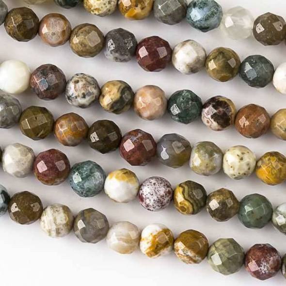Ocean Jasper 6mm Faceted Round Beads - approx. 8 inch strand, Set B