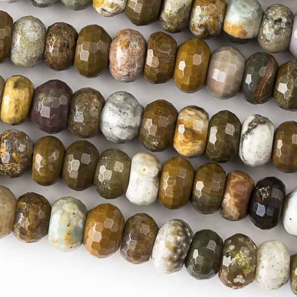 Ocean Jasper 5x8mm Faceted Rondelle Beads - approx. 8 inch strand, Set B