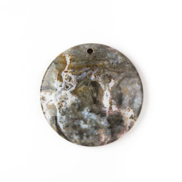 Ocean Jasper 40mm Top Front to Back Drilled Coin Pendant with a Flat Back - 1 per bag