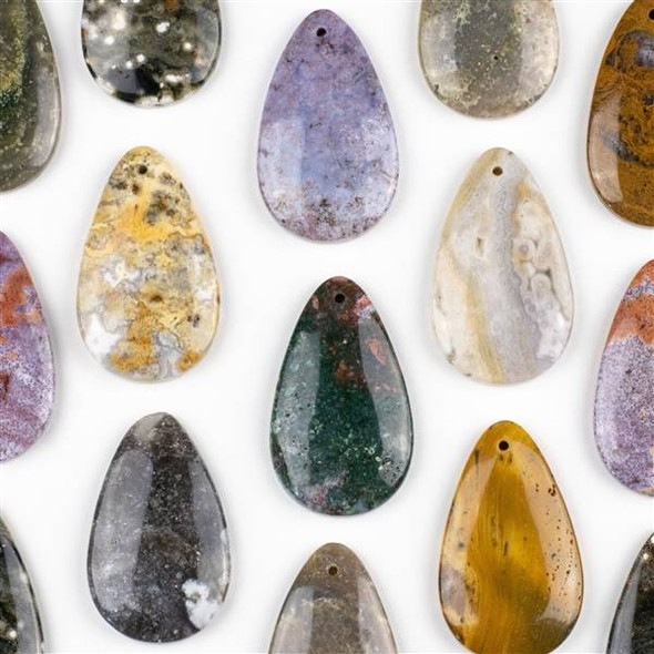 Ocean Jasper 30x50mm Top Front to Back Drilled Teardrop Pendant with a Flat Back - 1 per bag