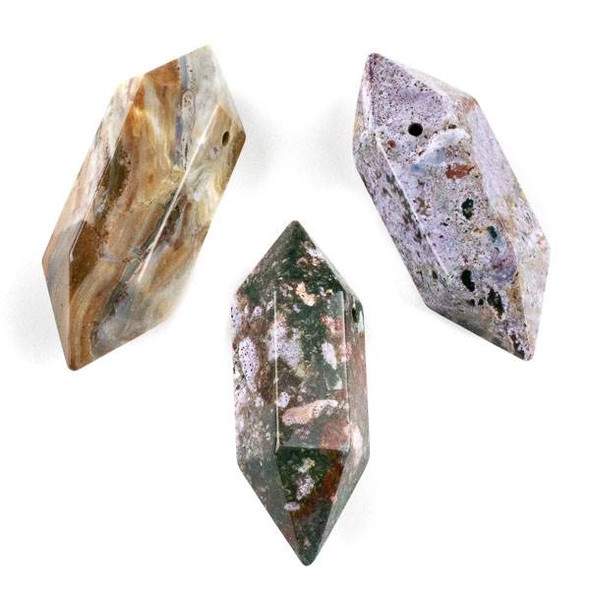 Ocean Jasper 27x70mm Extra Large Hexagonal Double Point Pendant - 1 per bag
