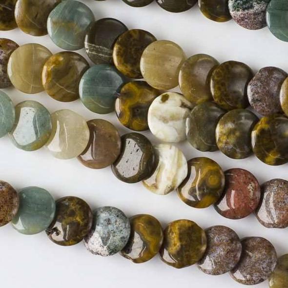 Ocean Jasper 12mm Overlapping Coin/Lentil Beads - 16 inch strand