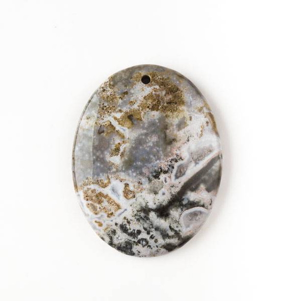 Ocean Jasper 35x45mm Top Front to Back Drilled Oval Pendant with a Flat Back - 1 per bag