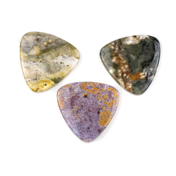 Ocean Jasper 35mm Top Drilled Inverted Triangle Pendant - 1 per bag