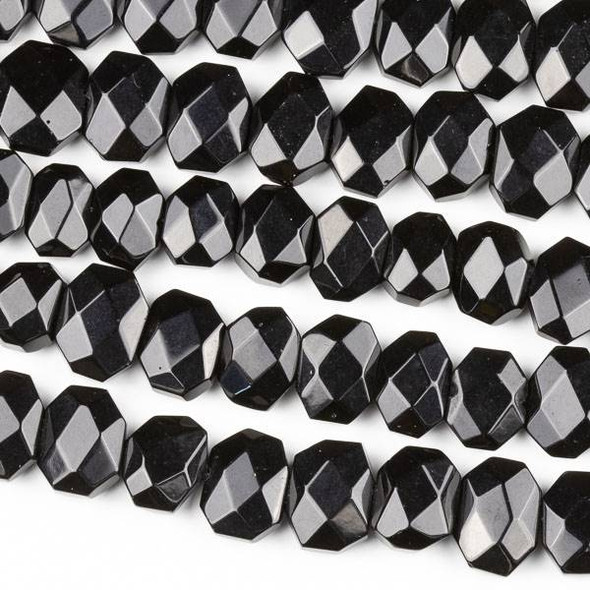 Onyx 10x14mm Faceted Octagon Beads - 8 inch strand