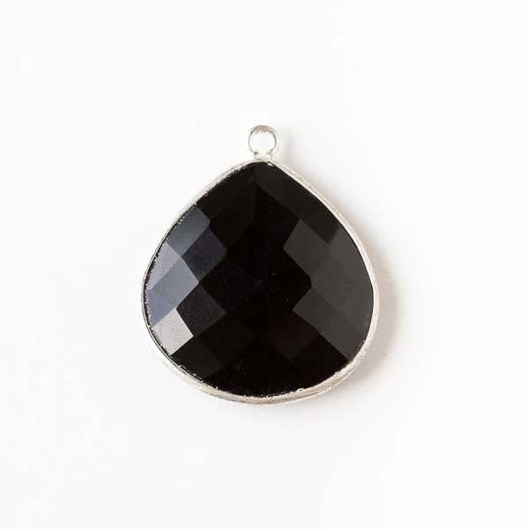 Onyx approximately 21x24mm Almond Drop with a Silver Plated Brass Bezel