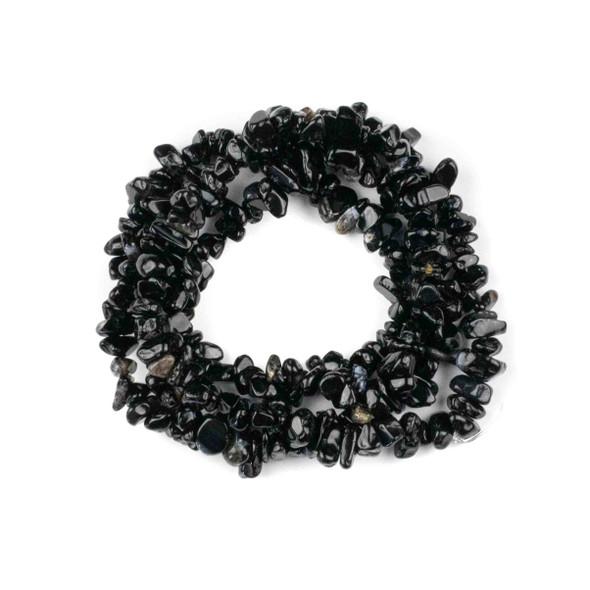 "Black Onyx 5-8mm Chip Beads - 34"" circular strand"