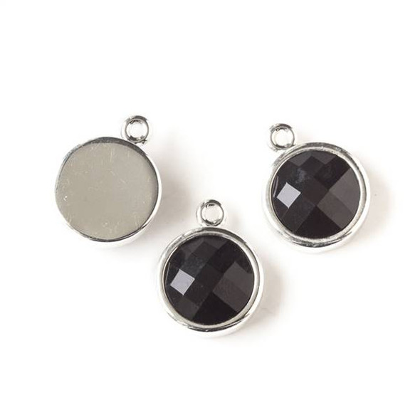 Onyx 12x16mm Coin Drop with Silver Bezel - 1 per bag